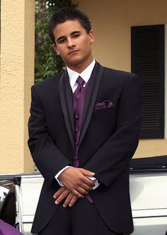 This is what I want Luis to wear only white tux with purple!