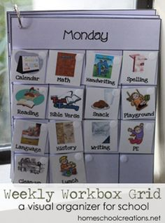 How Homeschool Creations uses a Workbook Weekly Grid and Workbox system Workbox System, Visual Schedules, Daily Schedules, Pecs Schedule, Schedule Board, School Schedule, Weekly Schedule, Autism Resources, Autism Classroom