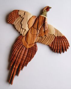 Pheasant Bird Intarsia Wood Carving Wall Hanging by EntwoodCrafts