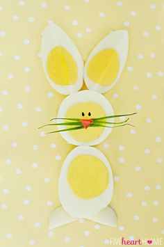 Hard-Boiled Egg Chicks & Bunnies ~ a cute way to use up those extra Easter eggs! #Easter