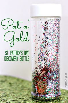Can you find all the coins in this rainbow themed I Spy bottle? Preschoolers will love to shake and roll this rainbow themed discovery bottle to count the coins inside. A super fun St. Patrick's Day a(Glitter Bottle For Kids) St Patrick Day Activities, Spring Activities, Preschool Activities, Calming Activities, Motor Activities, Therapy Activities, Infant Activities, Shake, St Patricks Day Crafts For Kids