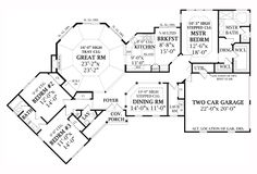 First Floor Plan of Country   Craftsman   Farmhouse  Southern   Traditional   House Plan 79522