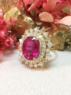 One-of-a-Kind |  5.15CT Pink Tourmaline Ring | 1.19CT Diamonds | Solid 14K Gold | Estate Fine Jewelry | Free Shipping by stonesandgold on Etsy https://www.etsy.com/listing/399955841/one-of-a-kind-515ct-pink-tourmaline-ring