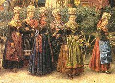 """Rippoldsauer Tracht  Heinrich Issel (1838 - 1889): """"Festzug der Grünen Hochzeit """" (1892) Detail: Mädchen in Rippoldsauer Tracht vor dem Auss... #Schapbach"""