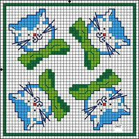 Cats biscornu pattern