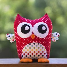 """Meet """"Oliver Hoot"""" who is the perfect accessory for a new baby's nursery or as a cuddle friend for any owl enthusiast. This toy is so quick and easy to make – you will have a whole shelf full in no time. This pattern is suitable for sewers of all skill levels and is a great beginners..."""