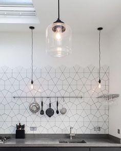 Hexagon Tile // photo via mrspolka-dot.com blog #designinspo #hexagontiles #interiordesign #kitchendesign #interiors