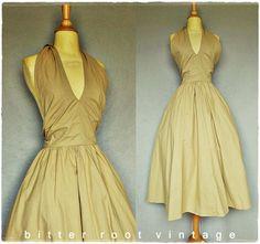 Vintage 50s khaki halter dress with open back--LOVE!