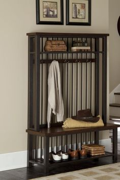 Wooden Hall Tree Bench Seat Entry Way Coat Rack Stand Shelf Storage Furniture  #Unknown