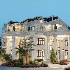 Classic House Exterior, Classic House Design, Dream Home Design, Modern House Design, House Plans Mansion, Dream Mansion, Dream House Plans, White Mansion, Mansion Interior