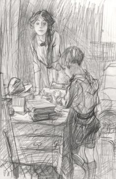 E.H. Shepard.  Sketch of his wife, and son.