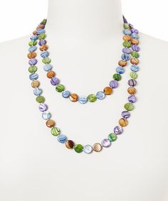 Another great find on #zulily! Green & Purple Mother-of-Pearl Necklace #zulilyfinds