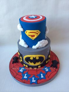 Superhero Cake-I like the look of the fondant stars with the child's name on top-could also write name in frosting