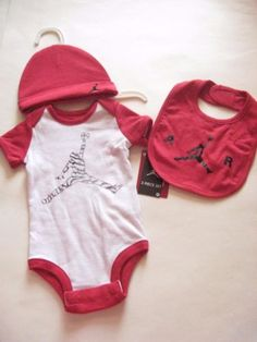 4090d9c8af0 Nike Air Jordan Bodysuit Set with Infant Cap and Bib. Perfect for Baby  Shower Gift.