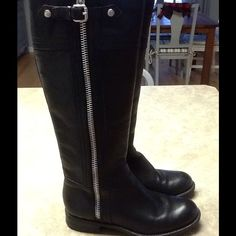 Franco Sarto Panko black riding boots Perfect winter stylish boots. Can be worn with everything. Black leather riding boots with an easy on silver zipper up the side. They do have slight wear on the soles and a few scratches on the toe box. But have a lot of miles left Franco Sarto Shoes Heeled Boots