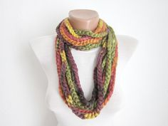 Crochet Scarf infinity Green yellow orange Necklace Colorful Variegated Long Winter Accessories. $19.00, via Etsy.