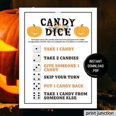 Candy Dice Game, Halloween Games, Halloween Party Games, Candy Game, Kids Games, Fun Party Games, Halloween Printable, Instant Download