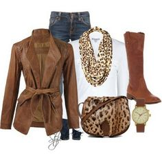 Brown Winter 2013 Outfits for Women by Stylish Eve; brown suede jacket, white turtleneck, leopard scarf, jeans, lepard flats or boots