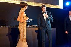 Shereen's Mitwalli interviewing Gerald Butler on stage for Roger Dubuis in Dubai DIFC.