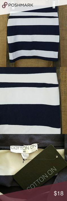 """Cotton On women's XS bodycon mini skirt striped Cotton On women's XS bodycon mini skirt striped white/blue NWT, 95% cotton, 5% elastane.  Waist side to side: 12.5"""" Length: 16"""" Cotton On Skirts Mini"""