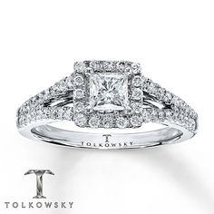 Diamond Engagement Ring 7/8 ct tw Princess-cut 14K White Gold  The band on this ring is beautiful! I also like how the center diamond is a single diamond not four small ones combined.