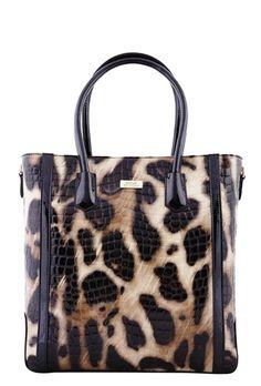Serenade Lynx Glossy Cheetah Print Tall Leather Handbag. SH54-7510. 42d1fa7a5a8ea