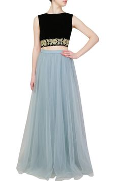 Vineti Bolaki presents Black floral zardozi embroidered crop top and light blue flared skirt set available only at Pernia's Pop Up Shop. Western Dresses, Indian Dresses, Indian Outfits, Indian Attire, Indian Wear, Indian Style, Indian Designer Outfits, Designer Dresses, Light Blue Skirts