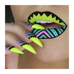 Tiffany Blue, Neon Yellow, and Pink Stiletto Nails With Matching Lips.