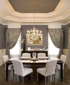 Grey And White Dining Room The Interior Of Tray Ceiling Is Painted To Match Wall Color I Loooove Ceilings