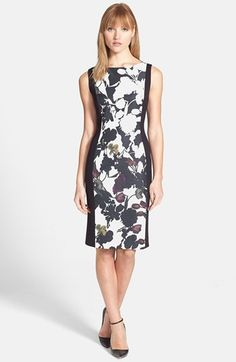 "$248.00 on @Keaton Row website, arranged with full of fashion... click to see it in action. A lovely floral-print panel of silky faille focuses attention front-and-center for a ponte-knit sheath topped with an elegant bateau neckline.  39"" length (size 8). Hidden back-zip closure. Lined. 100% silk with 66% rayon, 28% nylon, 6% spandex. By Classiques Entier®; imported. Studio 121."