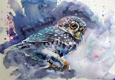 ARTFINDER: Owl at night by Kovács Anna Brigitta - Original watercolour painting on high quality watercolour paper. I love landscapes, still life, nature and wildlife, lights and shadows, colorful sight. Thes...