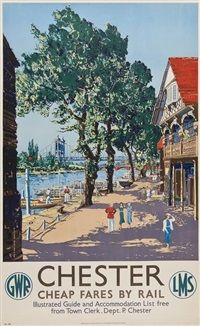 Chester, GWR by Claude Muncaster Posters Uk, Train Posters, Railway Posters, Retro Posters, British Travel, Vintage Travel Posters, Poster Vintage, British Isles, Nostalgia