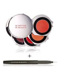 """NEW! Limited Edition Le Métier de Beauté Beauty Vault Selection : For Lips Only 95.00 Four vibrant shades in our portable kaleidoscope is ideal for adding a pop of color on the go. Blend these standout shades using the Retractable Lip Brush. The chic applicator makes mixing up your pout look easier than ever. Layer the four complex hues from top to bottom, using our proprietary """"Couches de Coulour"""" application technique or wear alone, either way lips are certain to pop."""