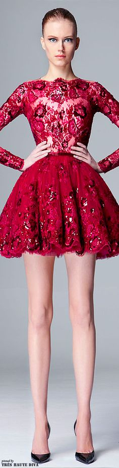 Zuhair Murad Pre-Fall 2014 red lace short cocktail dress