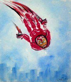 Iron man, dibujado con pintura de manos, muy logrado.