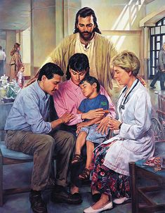 The Physician's Prayer by Nathan Greene ~ Jesus with family & doctor