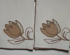 Vintage White Linen Guest Towels with Embroidery & Applique, Taupe on White - Set of 2, Circa 1960s