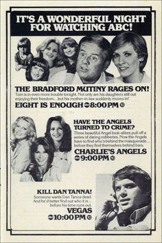 """""""It's a Wonderful Night For Watching ABC!"""" - 1979 ABC ad #vintageads #Ads #vintage #PrintAd #tvads #advertising #BrandScience #influence #online #Facebook #submissions #marketing #advertising Ed Vedder, 1970s Tv Shows, Vintage Television, Tv Land, Old Shows, Vintage Tv, Tv Guide, Teenage Years, Old Tv"""