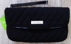 NWT NEW VERA BRADLEY FOLDED FLAP WRISTLET PURSE / WALLET CLASSIC BLACK  $42.00