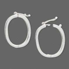 Clasp, JBB Findings, twister style with safety, sterling silver, 24x17mm hinged oval. Sold individually.