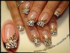 Nail art from the NAILS Magazine Nail Art Gallery, hand-painted, Zebra Nail Designs, Creative Nail Designs, Creative Nails, French Acrylic Nails, French Tip Nails, Cute Nails, Pretty Nails, Zebra Print Nails, Leopard Nails