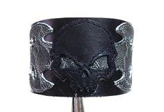 Leather skull bracelet braclet cuff  black by ChristyKeysCreations