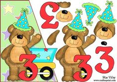 A bright colourful design for a A5 over the edge card. A little bear, wearing a party hat with a big number 3 & a train cart. With easy to cut out decoupage layers to make a very special card perfect for a little boy on his 3rd birthday!