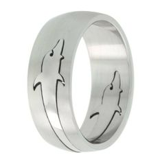 Surgical Steel Domed 8mm Wedding Band Ring Removable Polished Dolphin Cut-outs Matte Finish, sizes 8 - 14 Sabrina Silver. $6.95