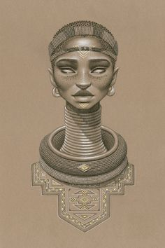 """Nomalanga"" by Sara Golish Charcoal, conté gold ink on toned paper. 20.5"" x…"