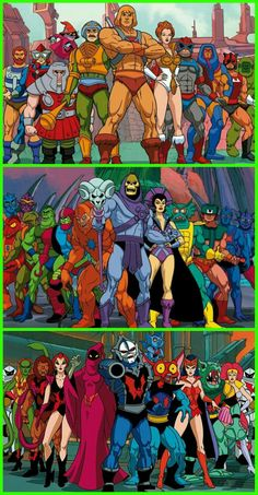 He-Man, Skeletor and Hordak with their squads 1980 Cartoons, Old School Cartoons, Cartoon Tv, Cartoon Shows, Comic Book Characters, Comic Books Art, He Man Tattoo, Hee Man, Gi Joe