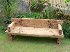 Big timber bench... might look cool with some blue pots and alyssum?