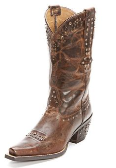 Ariat Brown Studded Rhinestone Cowboy Boots