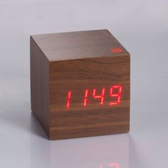 Amazon.com: New Wooden Clock Brown LED Digital Alarm with Thermometer Voice & Touch Activated: Home & Kitchen