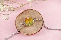 Resin bracelet real flowers stainless steel gift | Etsy